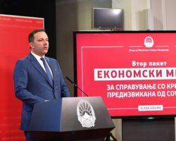 Спасовски: Финансиска поддршка за приватните фирми за исплата на плати за вработените
